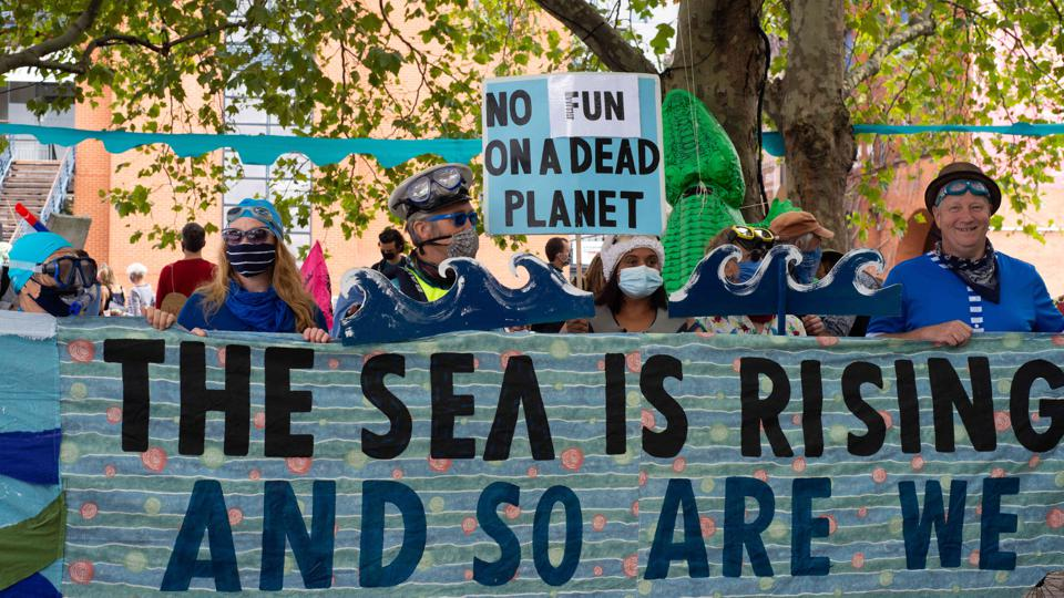 Protestors calling for more action for climate and the ocean