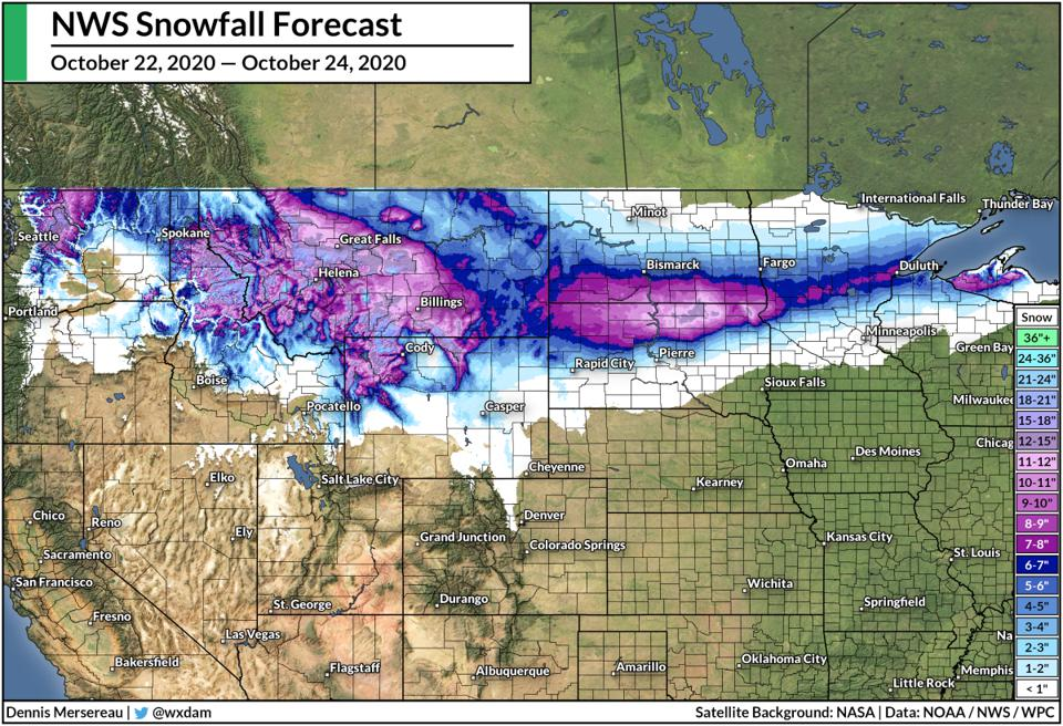 A map of the National Weather Service's snowfall forecast between Oct. 22-24, 2020.