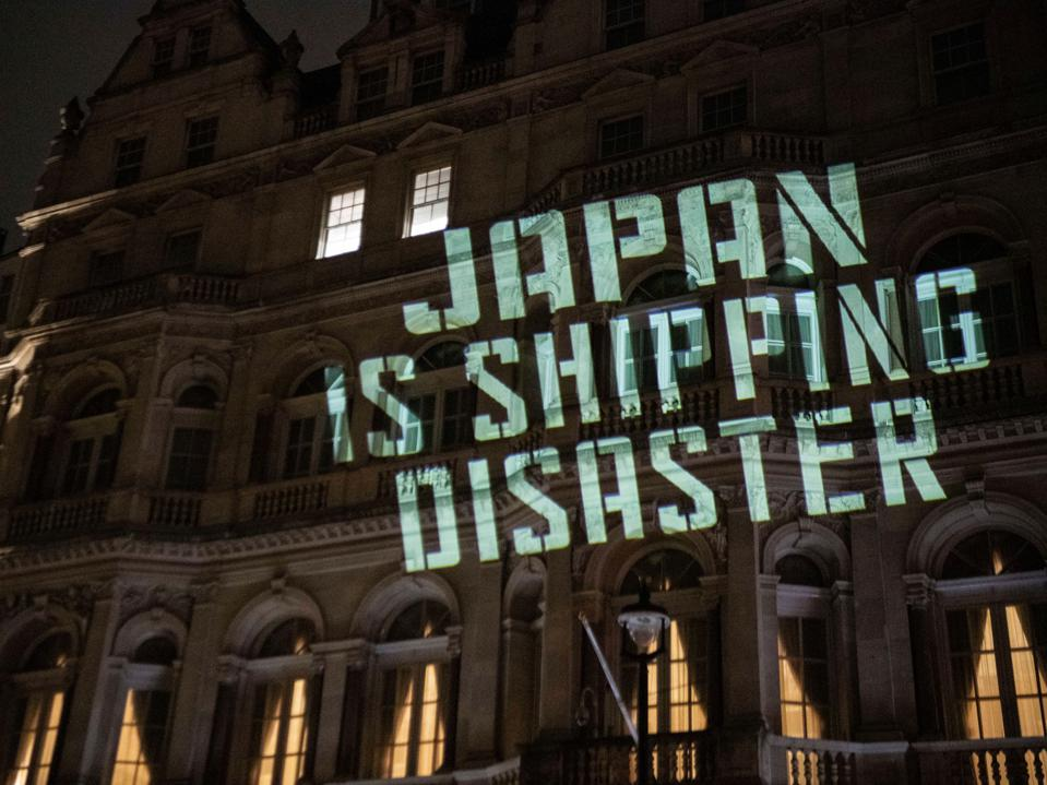 19 Oct 2020: Ocean Rebellion highlights the risks posed by Japan's proposal at the IMO for climate change, projected onto the Japanese Embassy in London.