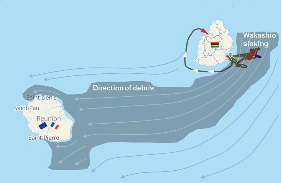 Satellite analysis of the location of the sunken wreck of the Wakashio reveals that debris would drift from there straight onto the Eastern coastline of the French territory of Reunion island, part of the European Union