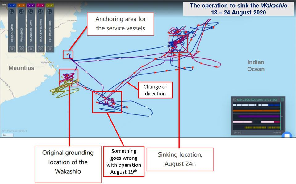 18-24 August, the operation to sink the Wakashio involved four vessels, and they pivoted 90 degrees on August 19, raising questions about what happened there and who approved the new sinking location.