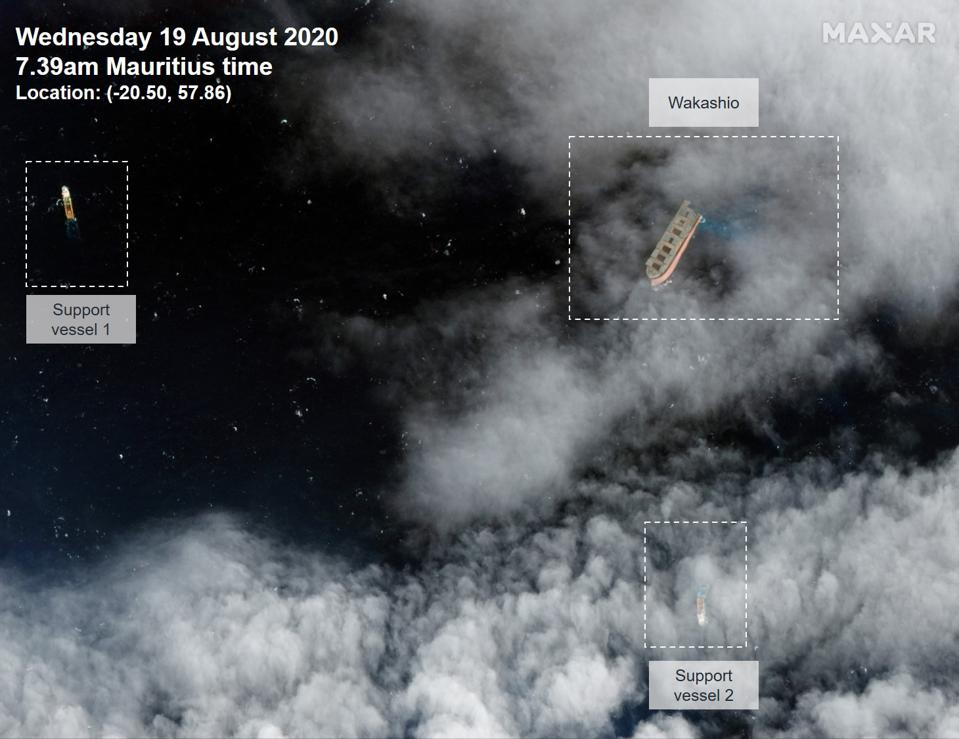 19 Aug: high resolution satellite imagery from Maxar captures the operation to tow the bow of the vessel into the Indian Ocean in a South Easterly direction