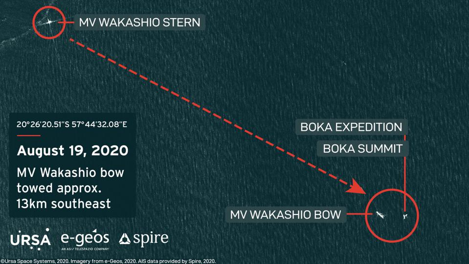 19 Aug 2020: calculations by Ursa Space System show the Wakashio being towed around 13 km in a South Easterly direction
