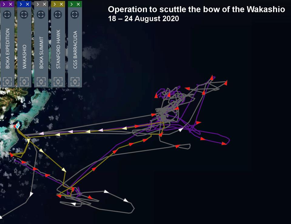 Windward analysis of vessel tracks reveal a concentration of activity just off the East coast of Mauritius, where the bow of the Wakashio was sunk