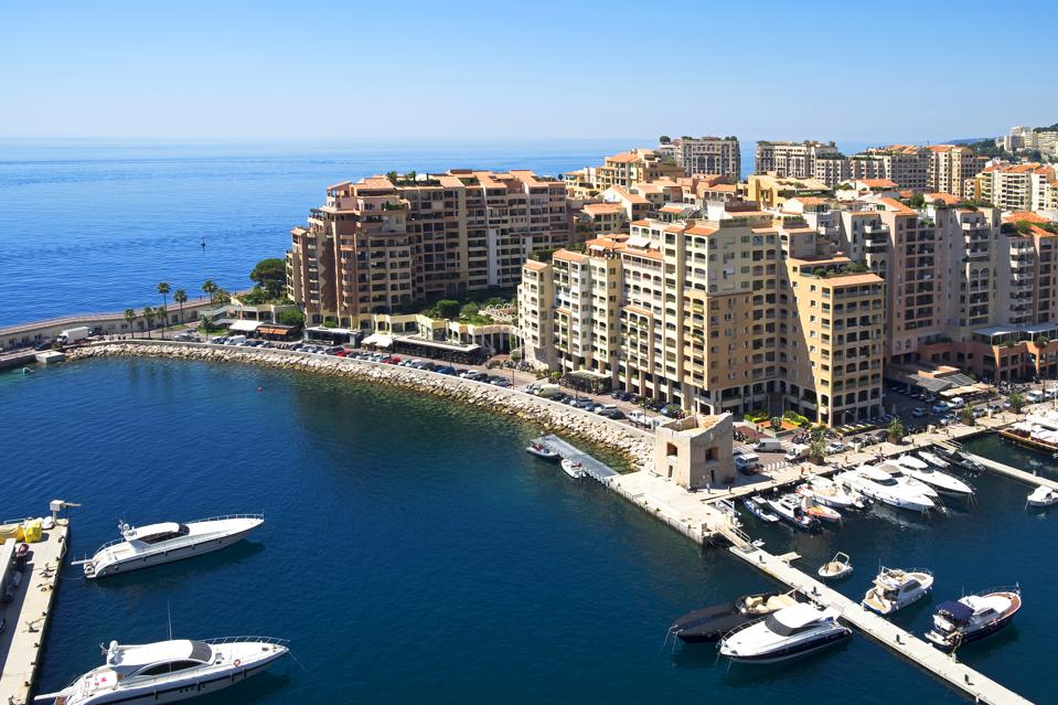 The Port Of Fontvieille Harbor In The Principality Of Monaco