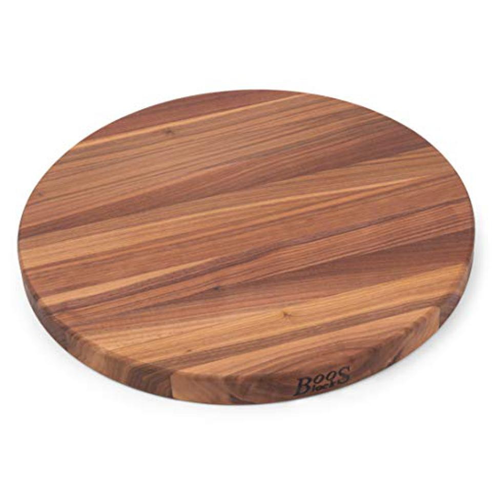 John Boos Walnut Wood Edge Grain Reversible Round Cutting Board, 18 Inches Round x 1.5 Inches