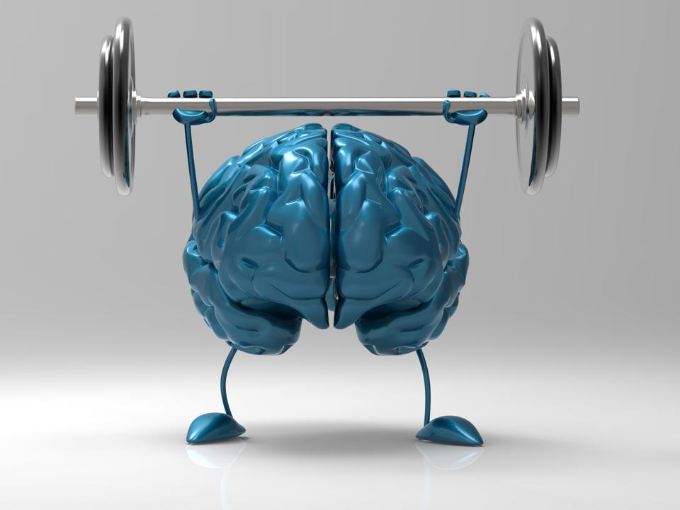a graphic of a blue brain lifting a barbell