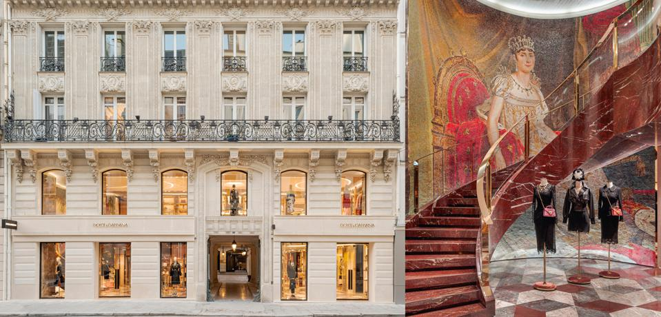 The facade and entryway at Dolce & Gabbana Paris by Carbondale