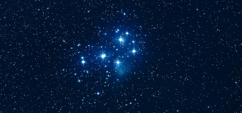 The Pleiades star cluster, M45, in Taurus.
