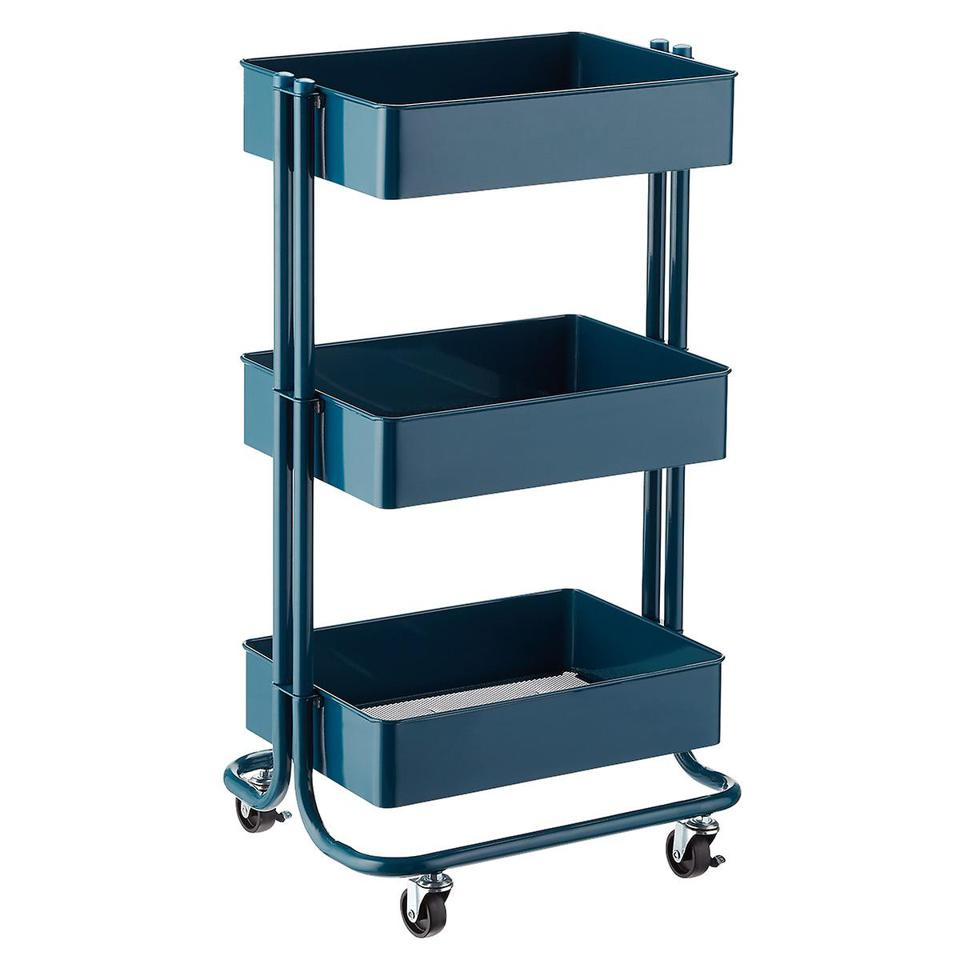 Teal Three-Tier Rolling Cart