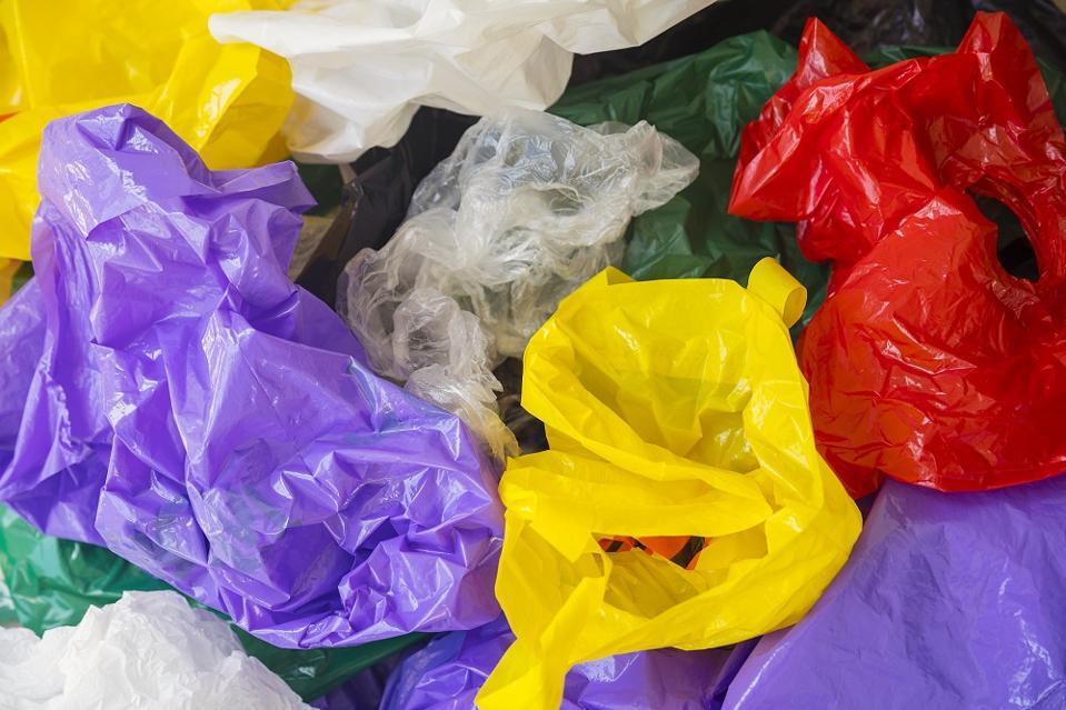 Plastic bags background, environmental hazard
