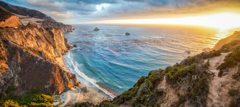 Big Sur coastline panorama at sunset, Monterey County, California, USA