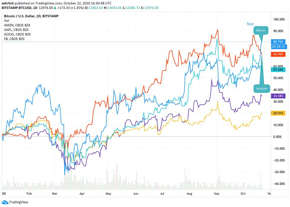 Bitcoin YTD performance compared to leading technology stocks