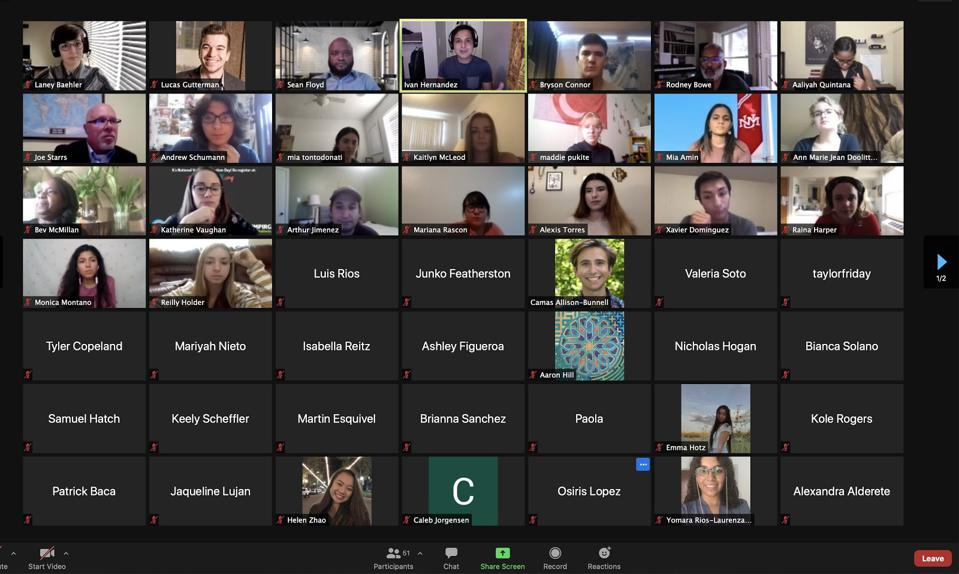 A screenshot of over 30 students gathered on a Zoom call.