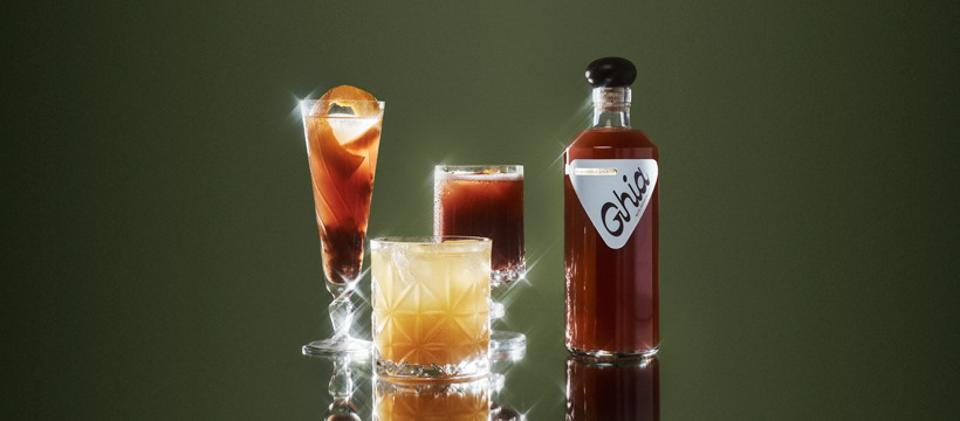 Drinks made with Ghia are displayed