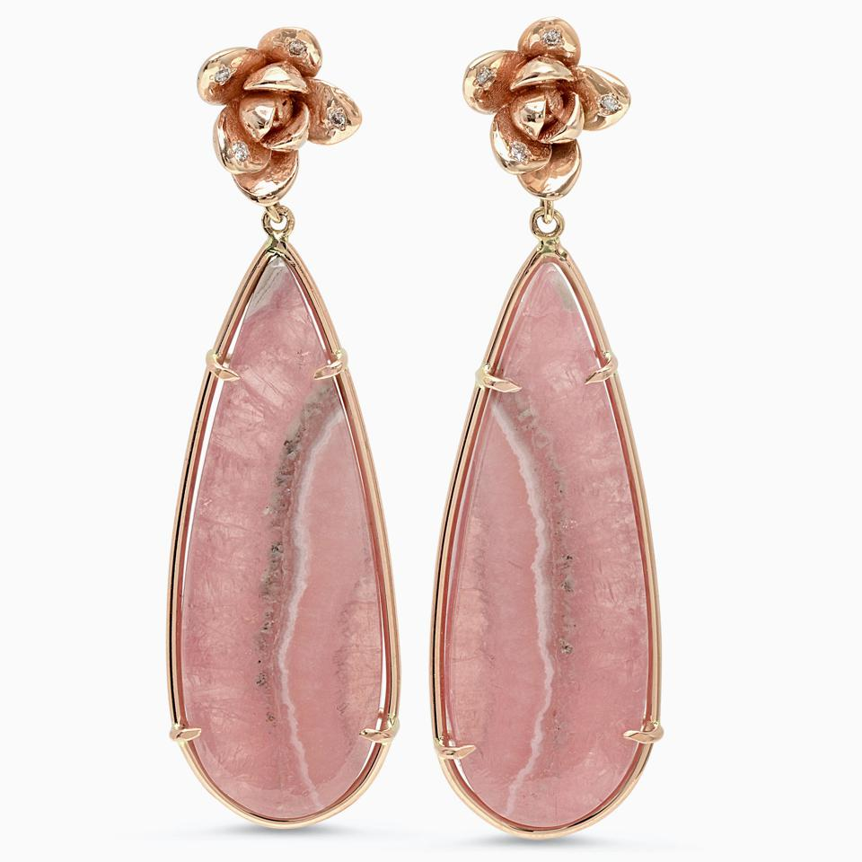 Beautifully veined pink rhodochrosite teardrop earring pendants by Elizabeth Bell Jewelry.