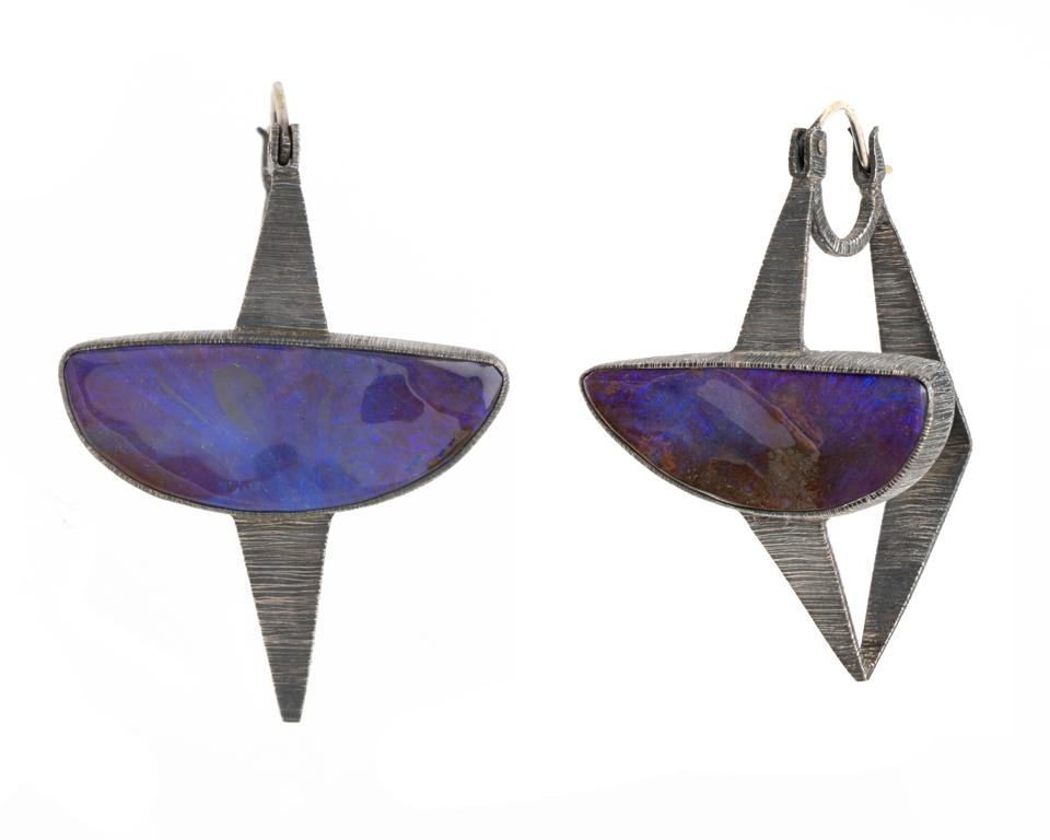 Opalescent deep purple earrings by Mariella Pilato glow with psychedelic chic.