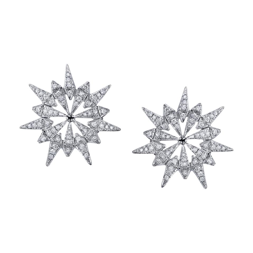 Diamond starburst earrings in 18-karat white gold by Lebanese designer Karma El-Khalil