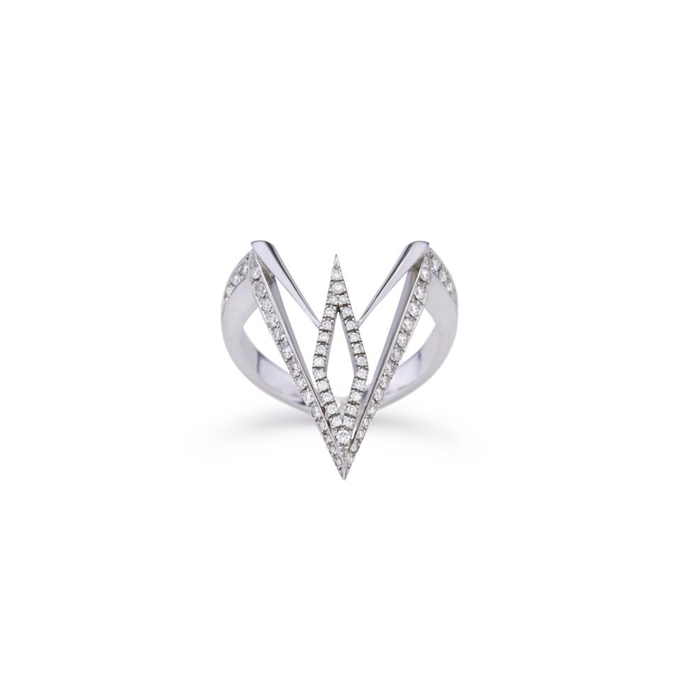 Ele Karela diamond and 18-karat white gold ″White Tandem″ ring.