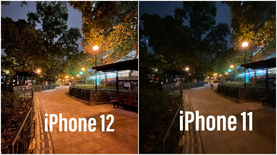 Wide-angle photos captured by the iPhone 12 and 11.