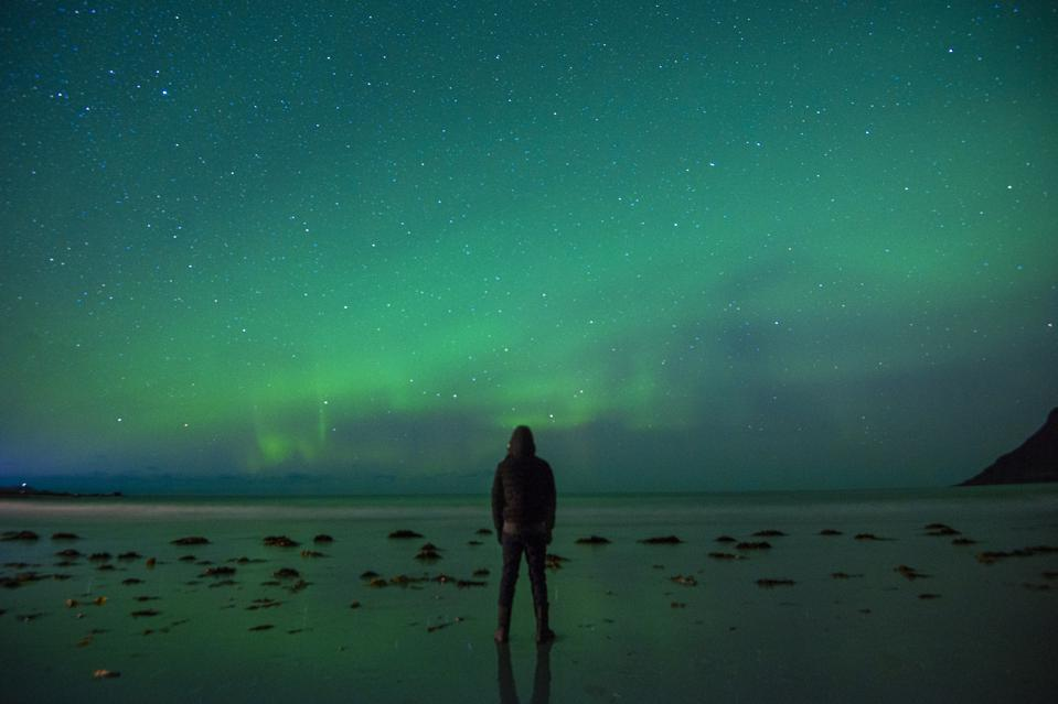 A person standing in Northern Norway watching a green northern lights display.