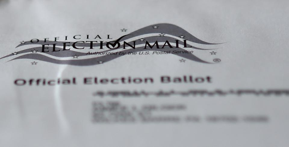 A view of an official Mail-in ballot for the 2020 general...
