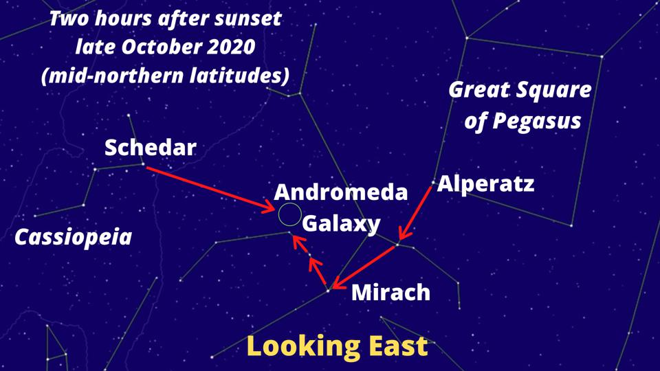 Here's a skychart showing how to find the Andromeda Galaxy once you're in the right region of the sky.