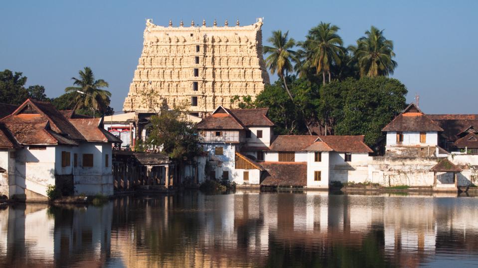 View over pond on gopuram of Sree Padmanabhaswamy Temple in Thiruvananthapuram (aka Trivandrum), Kerala, India