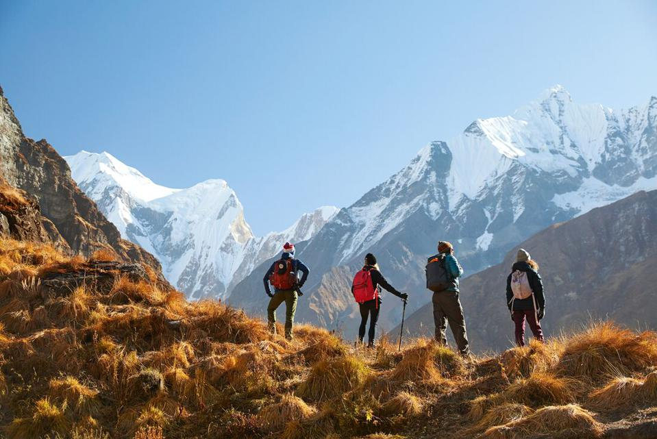 Hiking to Annapurna Basecamp,. Nepal, surrounded my mountain peaks