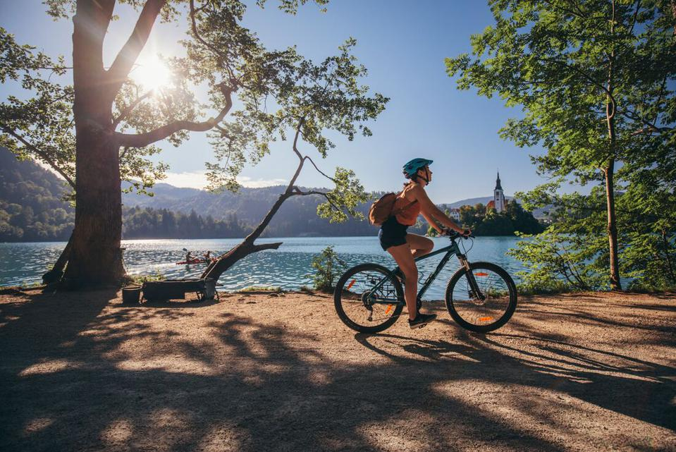 Cycling in Slovenia by Lake Bled