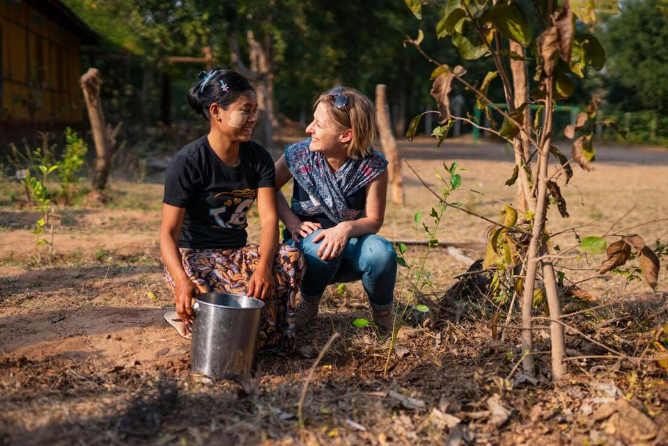 Planting a tree with the Intrepid Foundation in Myanmar