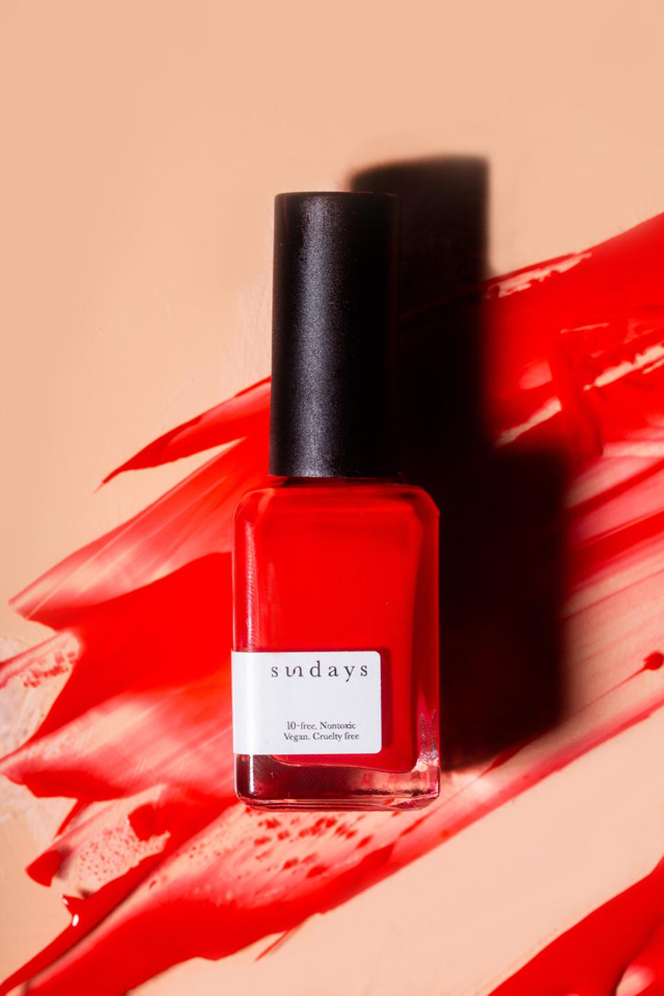One of the 50 striking colors for sundays' vegan, cruelty-free nail polish.