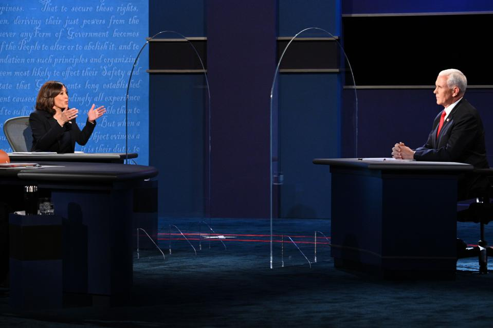 Kamala Harris and Mike Pence, separated by plexiglass during the vice-presidential debate.