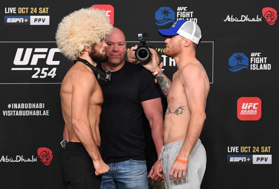 Khabib Nurmagomedov puts his UFC lightweight title on the line when he faces Justin Gaethje in the main event of UFC 254