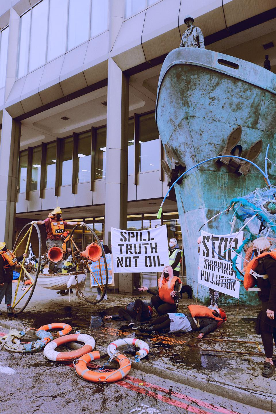 Oct 19: Protests outside the IMO on Monday organized by Ocean Rebellion in response to the IMO's weak stance on climate and the response to oil spills like the Wakashio in Mauritius