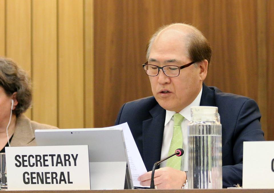 Secretary General of IMO, Kitack Lim opening IMO's Environmental Committee to discuss Greenhouse Gas emissions in 2018