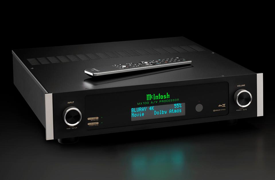 Front view of McIntosh MX100 A/V processor