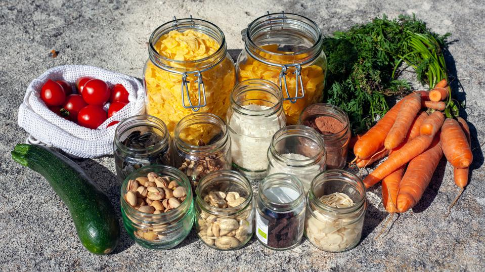 Picture of fresh food in glass containers
