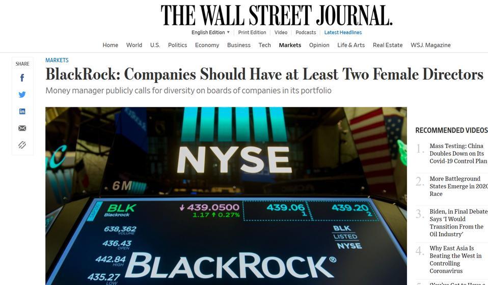 Screen shot of WSJ BlackRock story