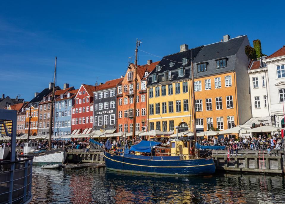 Copenhagen harbor with coloured houses