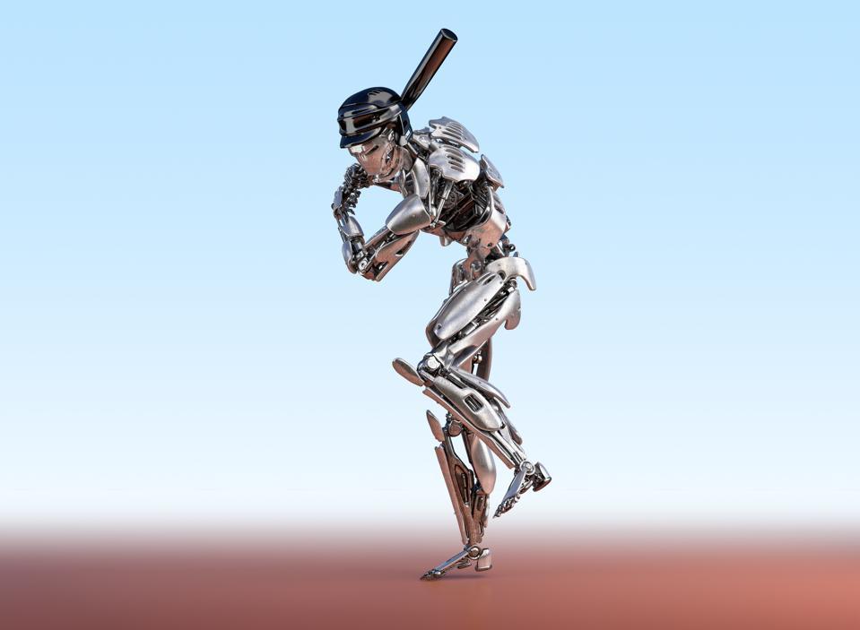 Cyborg baseball player getting ready to bat.