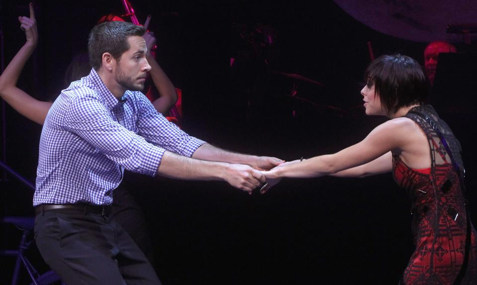 Zachary Levi and Krysta Rodriguez performing in 'First Date' at the Longacre Theatre on August 8, 2013 (Photo by Jim Spellman/WireImage)