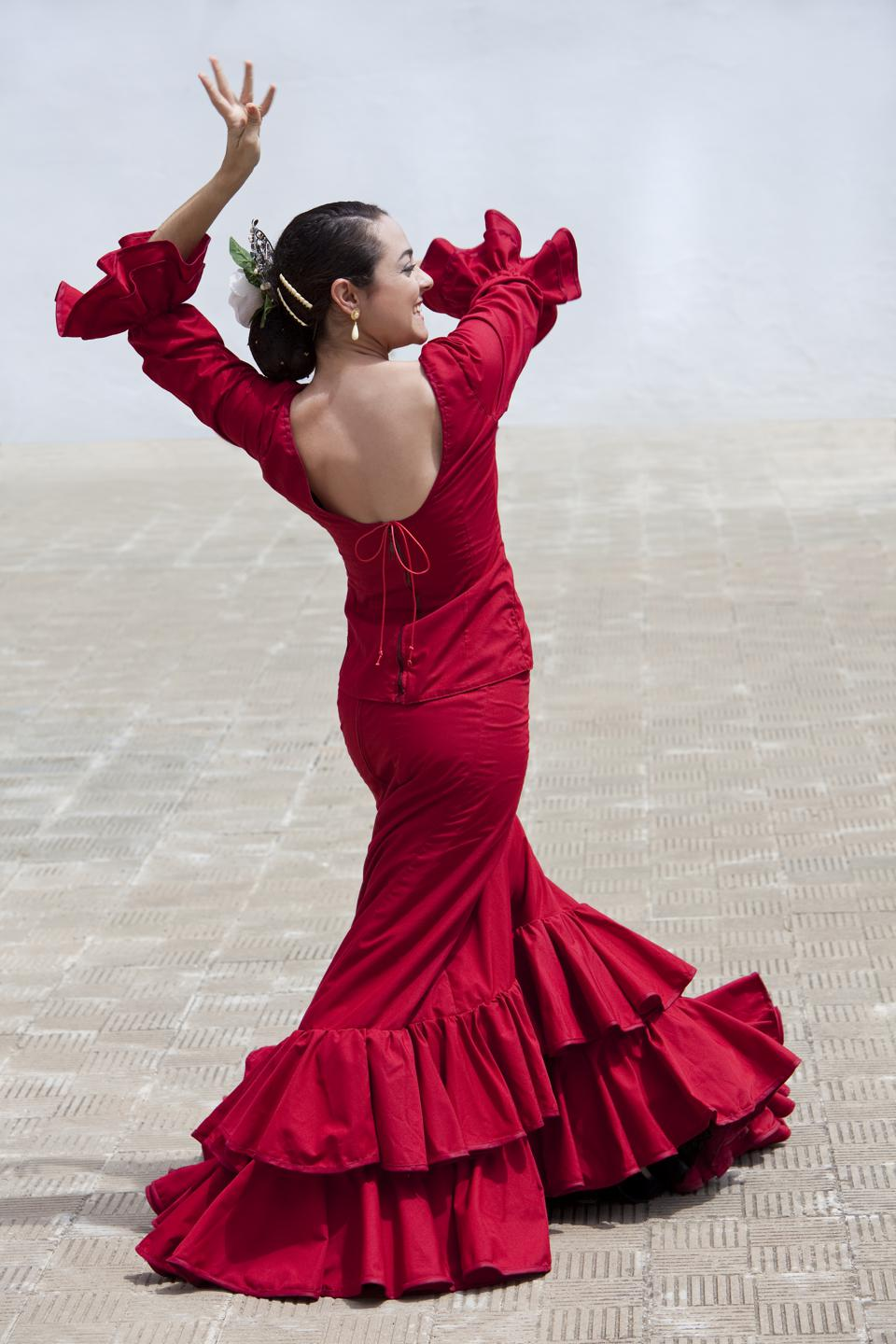 Woman Spanish Flamenco Dancer In Red Dress