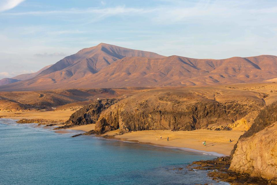 beach and volcanic landscape