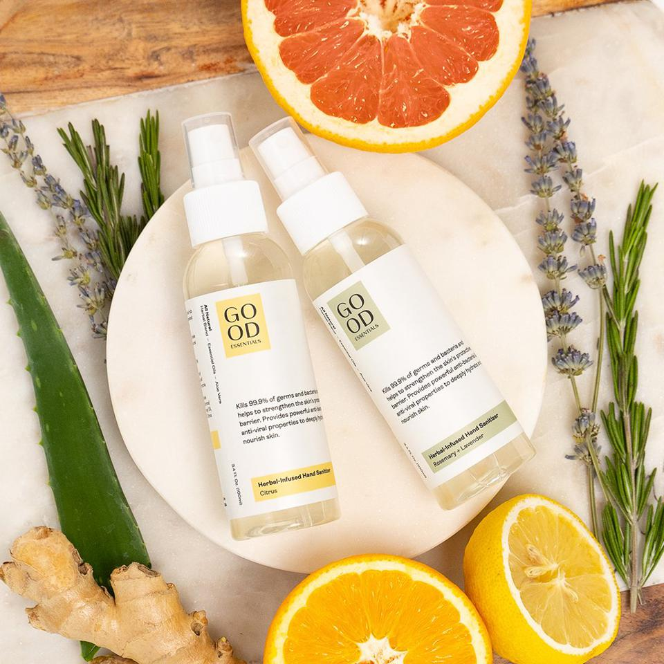 Essential oils and herb infused hand sanitizers from GOOD ESSENTIALS