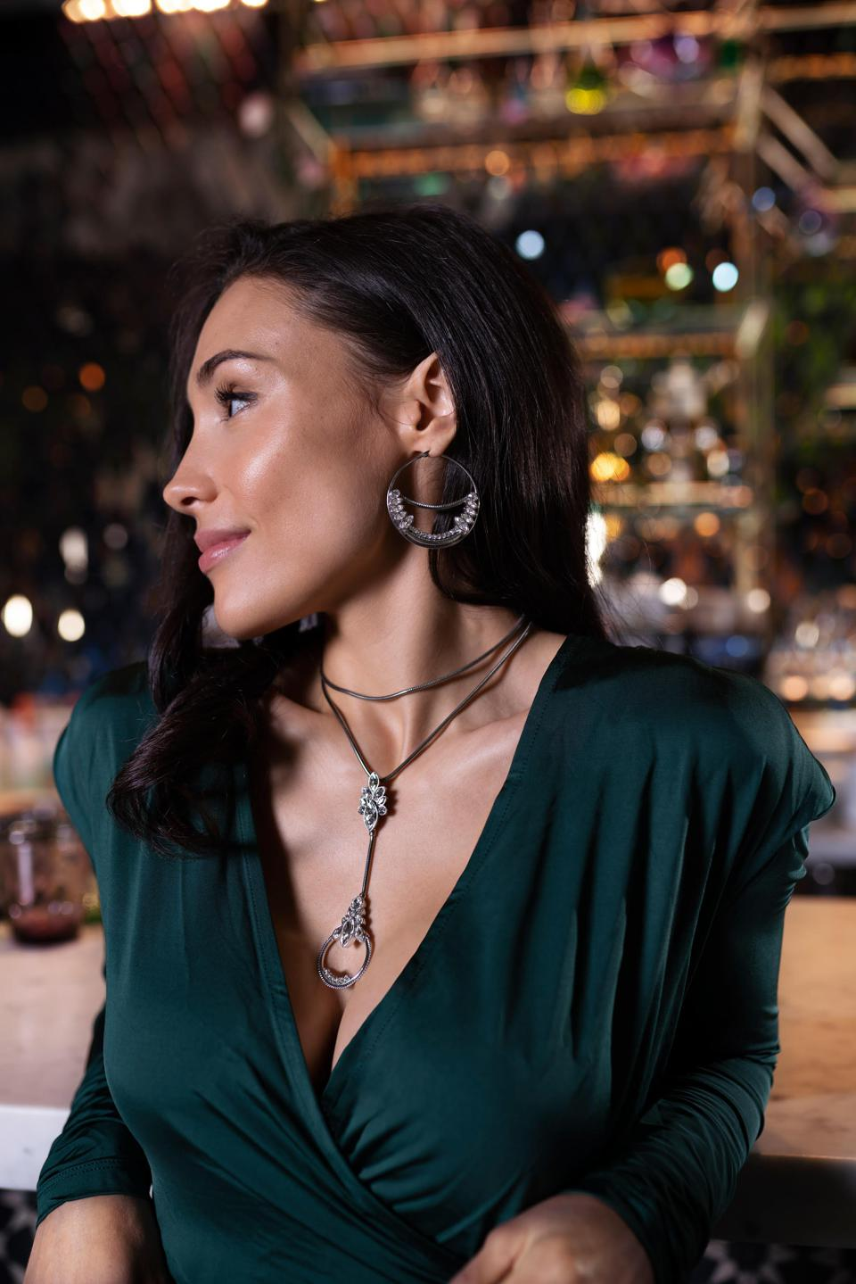 Female Model: Alexandra Beaulieu. The Bomonti necklace is a modern piece that will bring joy, confidence, and sparkle to women of all ages and backgrounds.
