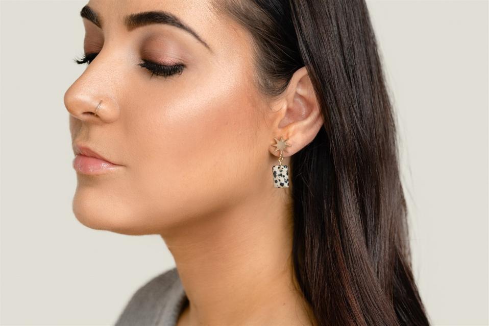 VUE by SEK 14k yellow gold star + dalmatian jasper earrings. Your VUE. Your Way.