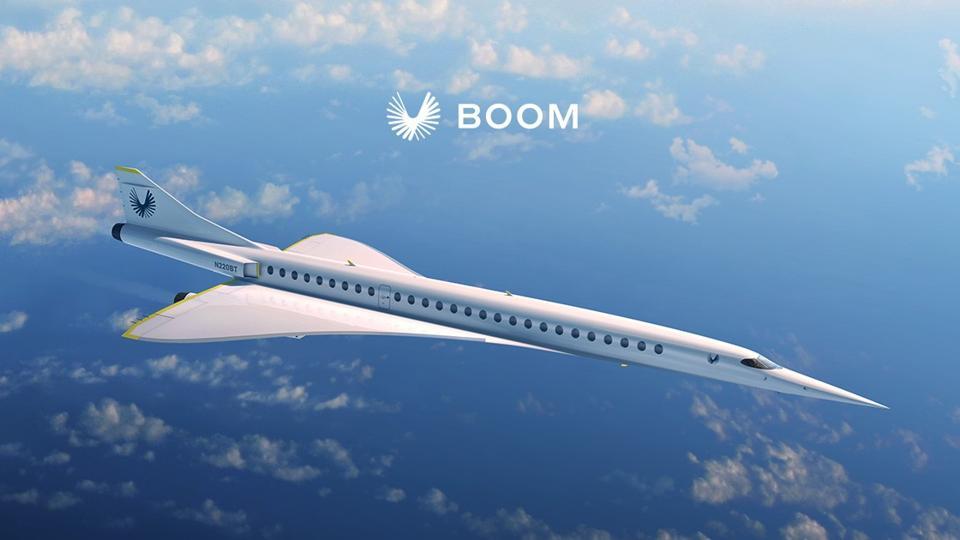 Boom's future 55-seat Overture supersonic jetliner.