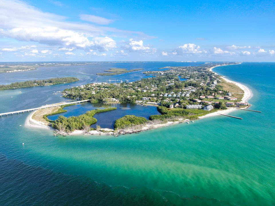 Aerial view of Longboat Key town and beaches