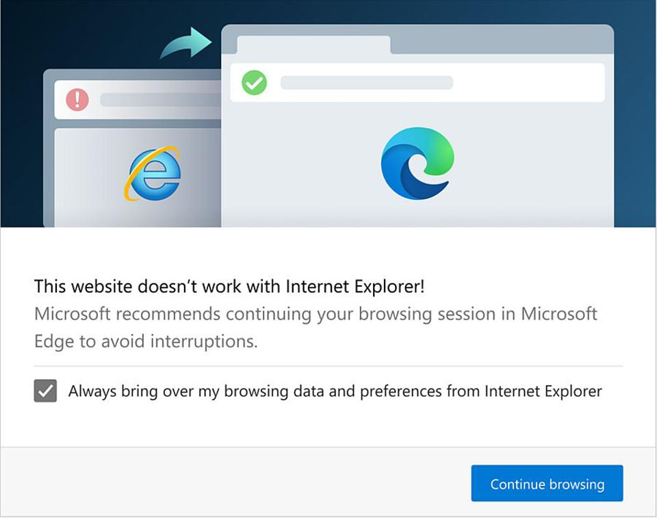 This is the alert Edge 87 will show you when you visit an incompatible site in Internet Explorer.